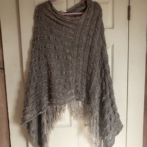 Simply Couture Knit Poncho Gray